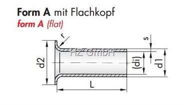 Messing-Rohrniete A3x0,2x4,5 mm blank